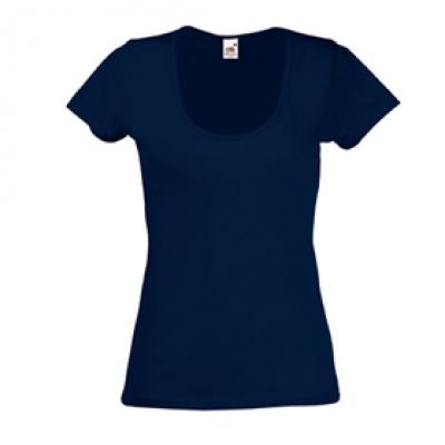 Дамски тениски Fruit of the Loom - 135гр текстил - Тъмно синя дамска тениска - 135гр