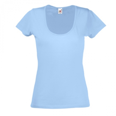 Дамски тениски Fruit of the Loom - 135гр текстил - Светло синя дамска тениска - 135гр