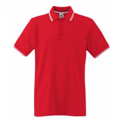 Червена мъжка тениска тип Лакоста Fruit of the Loom - 180гр.