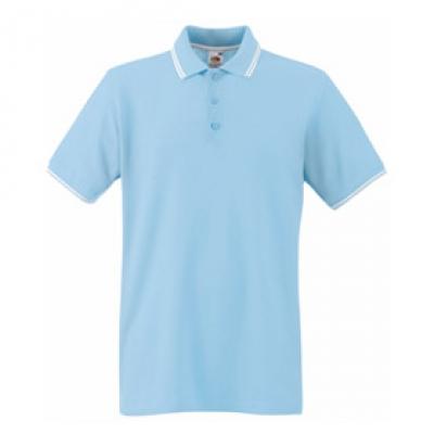 Светло синя мъжка тениска тип Лакоста Fruit of the Loom - 180гр.
