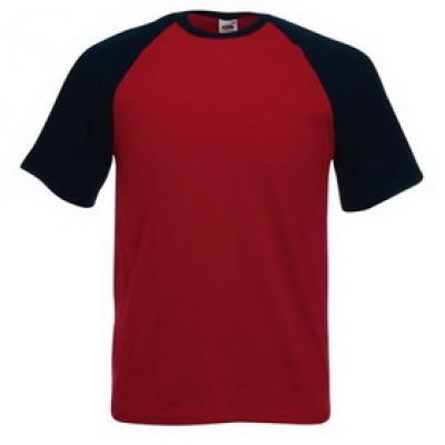 Тениски двуцветни Fruit of the Loom - 150гр текстил - Бордо-тъмно синьо, тениска Fruit of the Loom