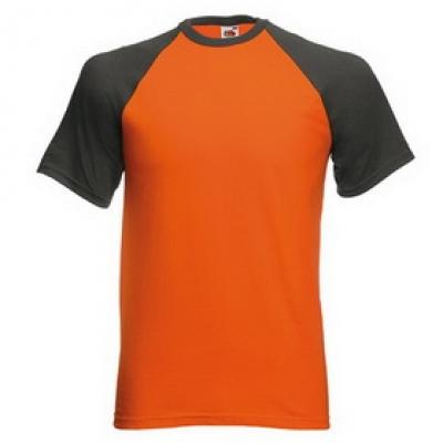 Тениски двуцветни Fruit of the Loom - 150гр текстил - Оранжево-графитено, тениска Fruit of the Loom