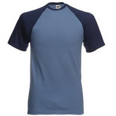 Тениски двуцветни Fruit of the Loom - 150гр текстил - Метално синьо-тъмно синьо, тениска Fruit of the Loom