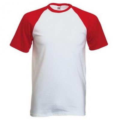 Тениски двуцветни Fruit of the Loom - 150гр текстил - Бяло-Червено, тениска Fruit of the Loom