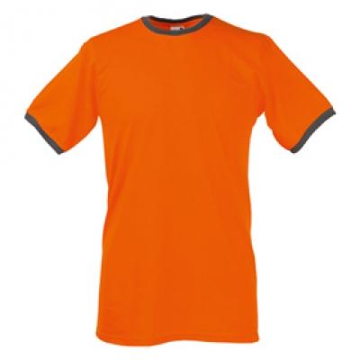 Тениски двуцветни Fruit of the Loom - 196 гр. текстил - Оранжево-Сиво, тениска Fruit of the Loom