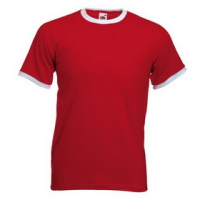 Тениски двуцветни Fruit of the Loom - 196 гр. текстил - Червено-Бяло, тениска Fruit of the Loom