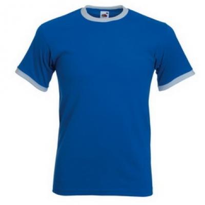 Тениски двуцветни Fruit of the Loom - 196гр текстил - Синьо-Бяло, тениска Fruit of the Loom