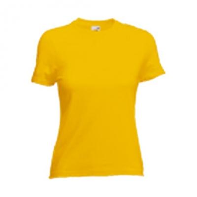 Дамски тениски Fruit of the Loom - 165гр текстил - Жълта дамска тениска - 165гр