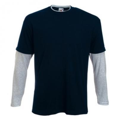 Мъжки блузи   Fruit of The Loom с дълъг ръкав - два цвята  - Блуза с дълъг ръкав - тъмно синьо/ меланж