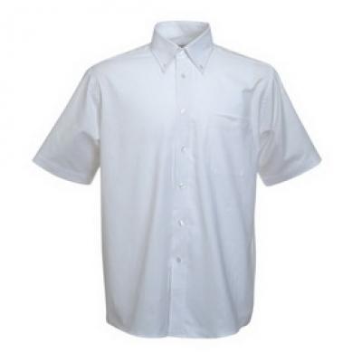 - Бяла мъжка риза Оксфорд къс ръкав Fruit of the Loom - 135 гр