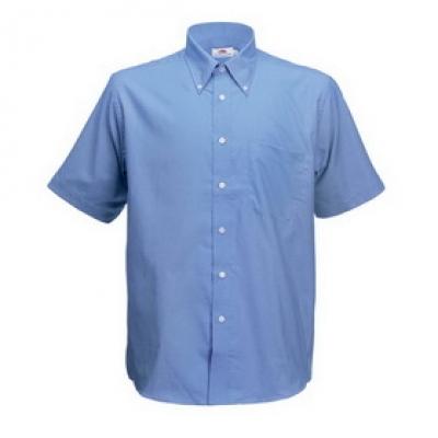 Мъжка риза Оксфорд къс ръкав Fruit of the Loom - 135 гр - Атлантик синьо мъжка риза Оксфорд къс ръкав Fruit of the Loom - 135 гр