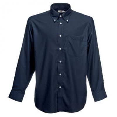 - Тъмно синя мъжка риза Оксфорд дълъг ръкав Fruit of the Loom - 135 гр