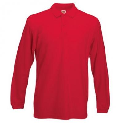 - Червена мъжка тениска с дълъг ръкав тип Лакоста Fruit of the Loom - 180гр.