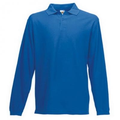 - Кралско синя мъжка тениска с дълъг ръкав тип Лакоста Fruit of the Loom - 180гр.