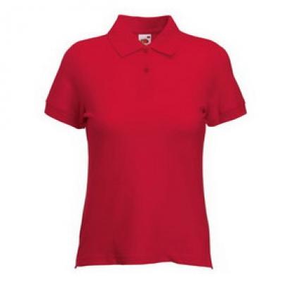 Дамски тип Лакоста Fruit of the Loom - 180гр  - Червена тениска тип Лакоста на Fruit of the Loom - 180гр
