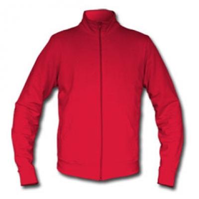 Ватена блуза с цип - червена