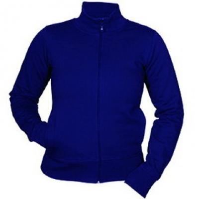 Ватена блуза с цип - кралско синя
