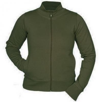 Ватена блуза с цип - маслинено зелена