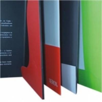 Печатни изделия - Папки фирмени с джоб лепен или сгънат с място за визитна картичка