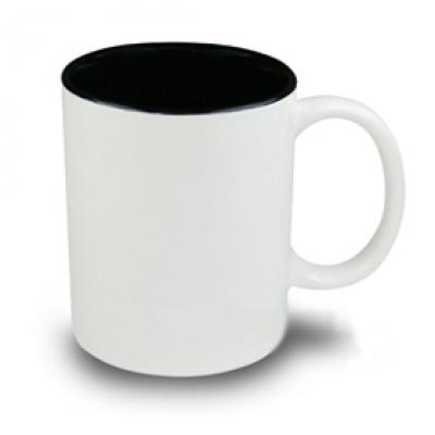 Керамични чаши с цветна вътрешност - черно