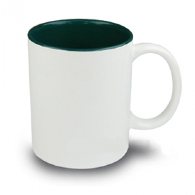 Керамични чаши с цветна вътрешност - тъмно зелено