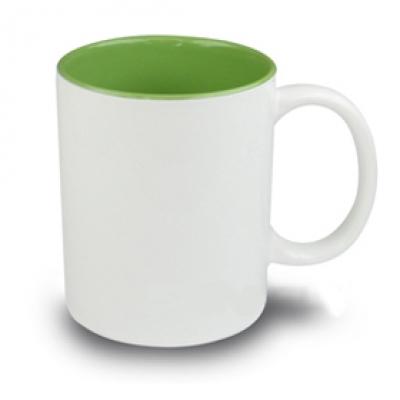 Керамични чаши с цветна вътрешност - светло зелено