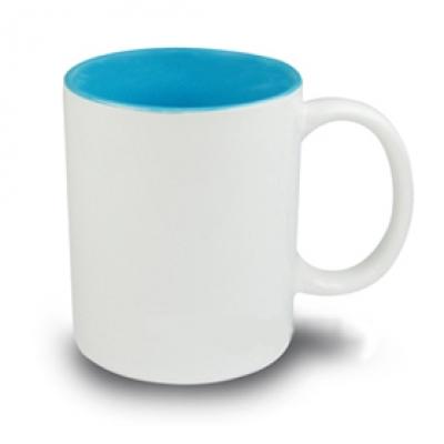 Керамични чаши с цветна вътрешност - светло синя