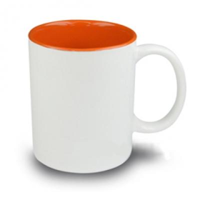 Керамични чаши с цветна вътрешност - оранжево