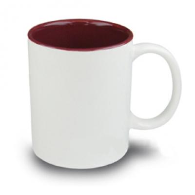Керамични чаши с цветна вътрешност - бордо