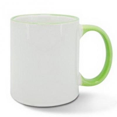 Керамична чаша със светлозелен ръб
