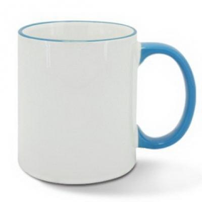 Керамична чаша със светлосин ръб