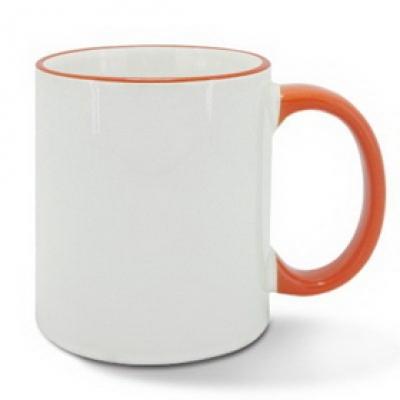 Керамична чаша с оранжев ръб