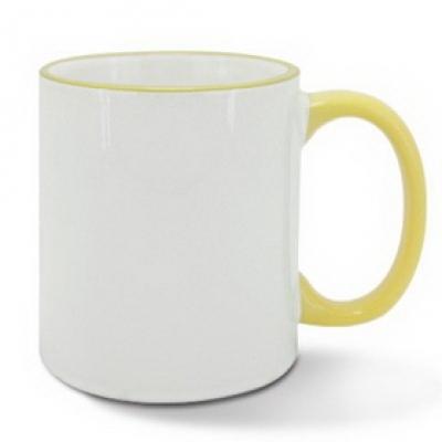 Керамична чаша с жълт ръб