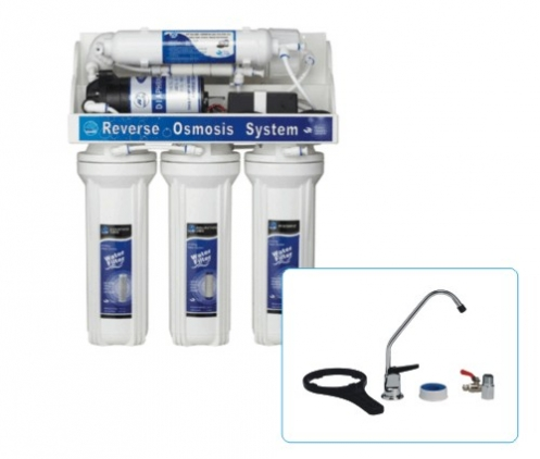 Петстепенна система за обратна осмоза за монтаж под мивката тип FRO-5P с помпа.